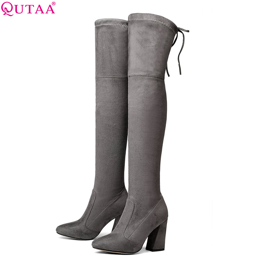 QUTAA 2020 Women Over The Knee High Boots Short Plush Inside Keep Warm Winter Fashion Sexy Hoof Heels Women Boots Size 34 43-in Over-the-Knee Boots from Shoes    1