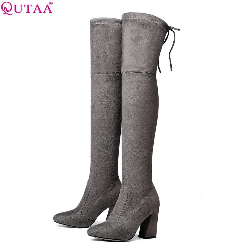 QUTAA 2020 femmes sur le genou bottes hautes court en peluche à l'intérieur garder au chaud hiver mode Sexy sabot talons femmes bottes taille 34-43