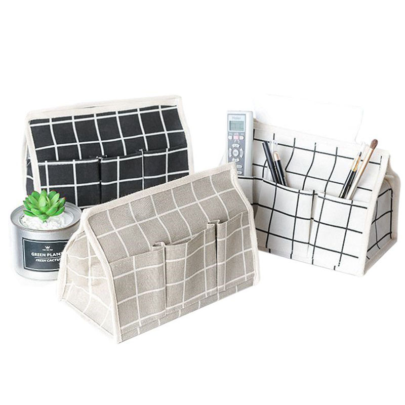 Hoomall Lattice Portable Storage Box Cotton Linen Tissue Storage Bags Living Room Office Desktop Sundries Organizer New Year