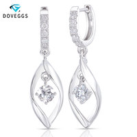 DovEggs Sterling 925 Platinum Plated Silver Center 5mm GH Color Hearts and Arrows Cut Lab Grown Moissanite Halo Hoop Earrings