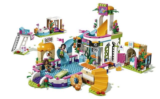Model building kits compatible with lego city girls friends Heartlake Summer Pool 3D blocks Educational model building toys