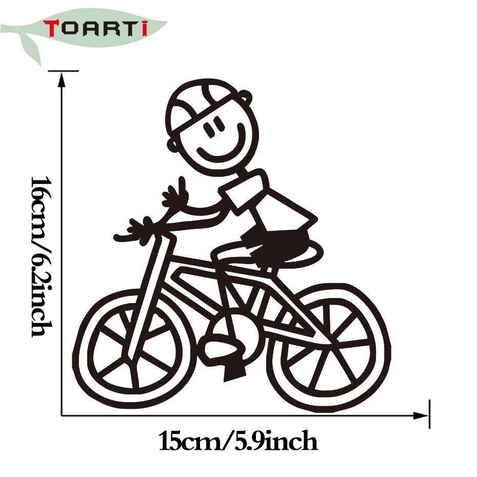 15 16 Cm Tersenyum Anak Naik Sepeda Mobil Stiker Penataan Kartun Perekat Vinyl Auto Stiker Tahan Air Jendela Stiker