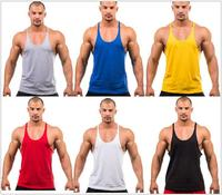 Gym Singlets Mens Blank Tank Tops 100 Cotton Sleeveless Shirt Bodybuilding Vest And Fitness Stringer Sports