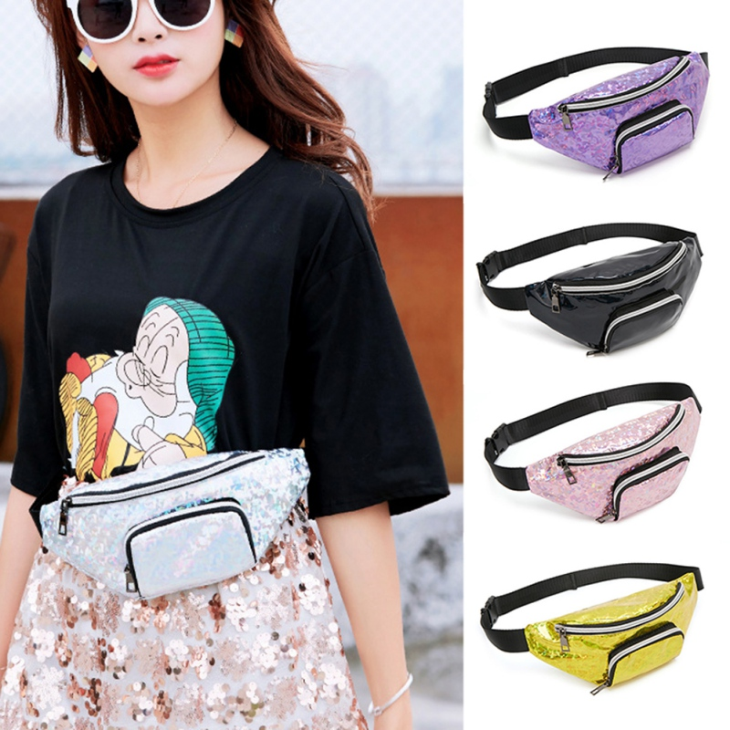 Waist Bags Purse Women Fanny Pack Female Belt Bag Black Banana Waist Packs Laser Chest Phone Pouch(China)