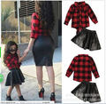 Spring Summer Fashionable European and American Wind Long-sleeved Plaid Shirt + Black Leather Kids Clothing Sets Red Black
