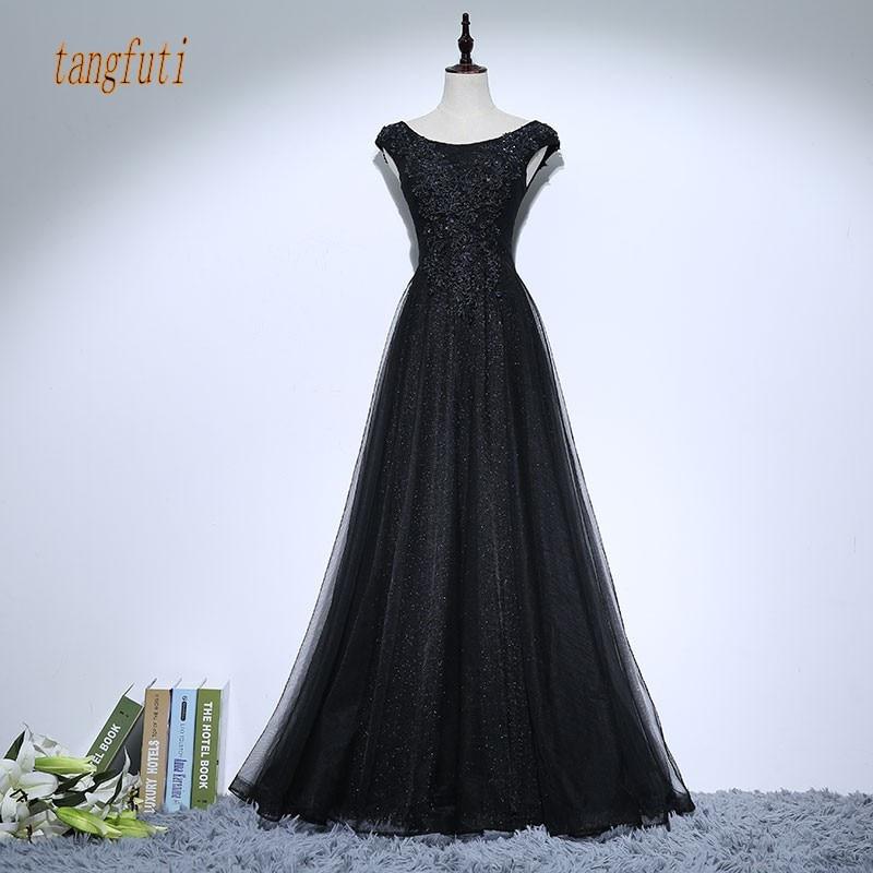 Vintage Negru Mama Rochii de mireasa Aplicatii Margele O linie de - Rochii de seară de nuntă - Fotografie 1