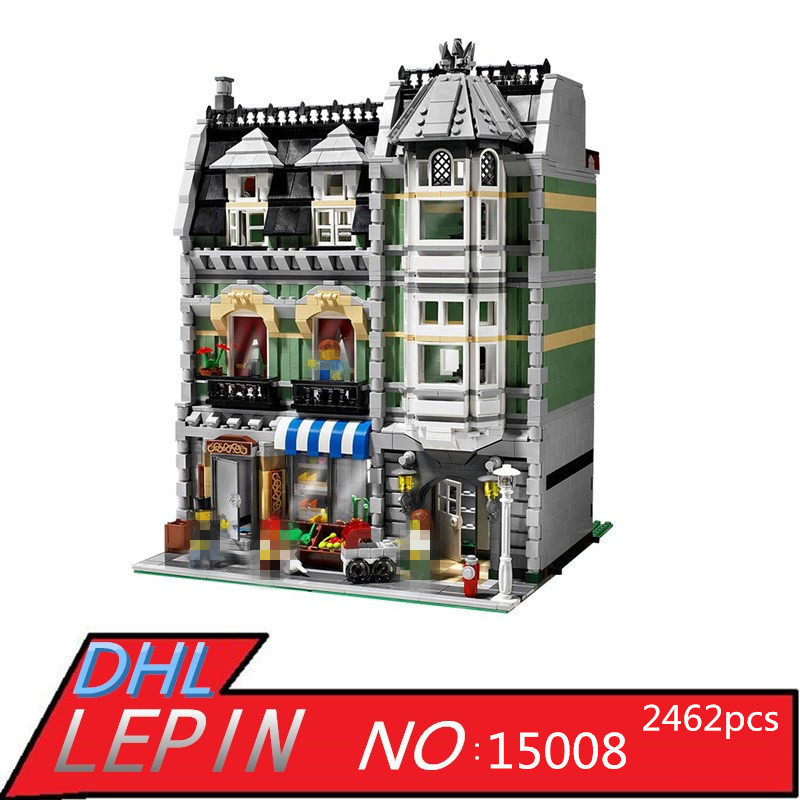 New City Street Creator Green Grocer Model LEPIN 15008 Educational Building Kits Blocks Bricks Brinquedos Toys for Children Gift lepin 24021 city creator 3 in 1 island adventures building block 379pcs diy educational toys for children compatible legoe