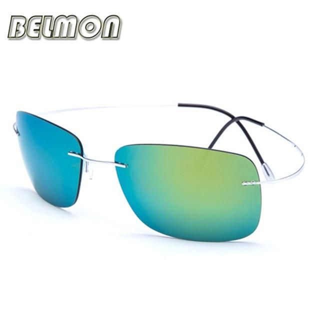 Memory Pure Titanium Polarized Sunglasses Men 2016 Luxury Brand Designer Sun Glasses Ultra-light Rimless For Male Oculos RS104
