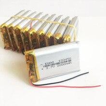 10 pces 3.7 v 2000 mah 103450 li po bateria recarregável do polímero do lítio para gps psp dvd portátil tablet pc banco de potência almofada da câmera meados