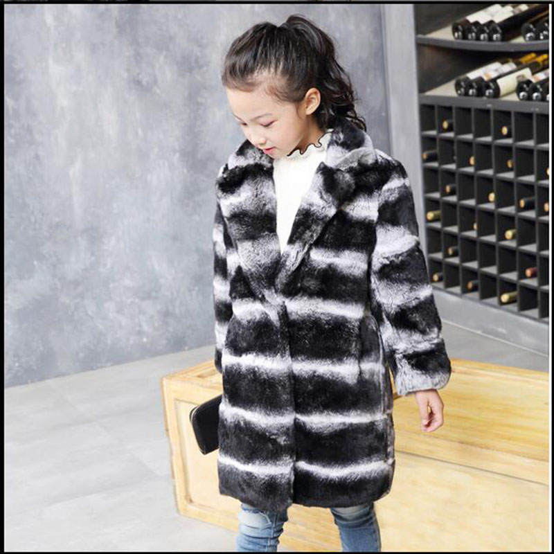 Children Rex Rabbit Fur Coat Winter Warm Boys Grils Long Section Outerwear Coats Kids Turn-down Collar Full Striped Clothing C#1 winter kids rex rabbit fur coats children warm girls rabbit fur jackets fashion thick outerwear clothes