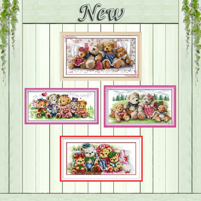 A teddy bear family cartoon toy painting counted print on canvas DMC 11CT 14CT Cross Stitch kits embroider needlework Sets