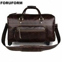 Draw bar Box Super Large Genuine Leather Travel Bag Weekender Duffle Bag Crazy Horse Leather Travel Duffel Shoulder Bag LI 2106
