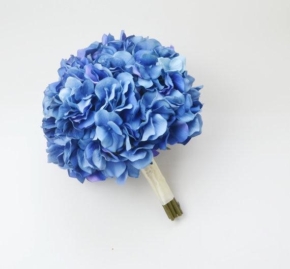 Bouquet Sposa Blu.Blu Ortensia Bouquet Da Sposa Spose Da Sposa Fiori Blu Crema