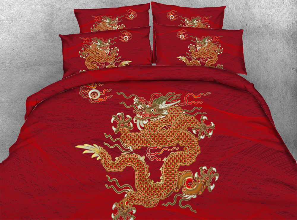 Bedding Set Chinese Dragon Print Twin Queen King Super Modal Duvet Cover Bedlinen Bedclothes In Sets From Home Garden On