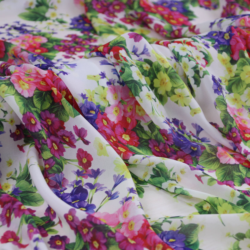 Multicolor Small Flowers White Thin Transparent Chiffon Fabric for Woman Summer Long Dresses Skirt Shirt Sewing DIY AF695