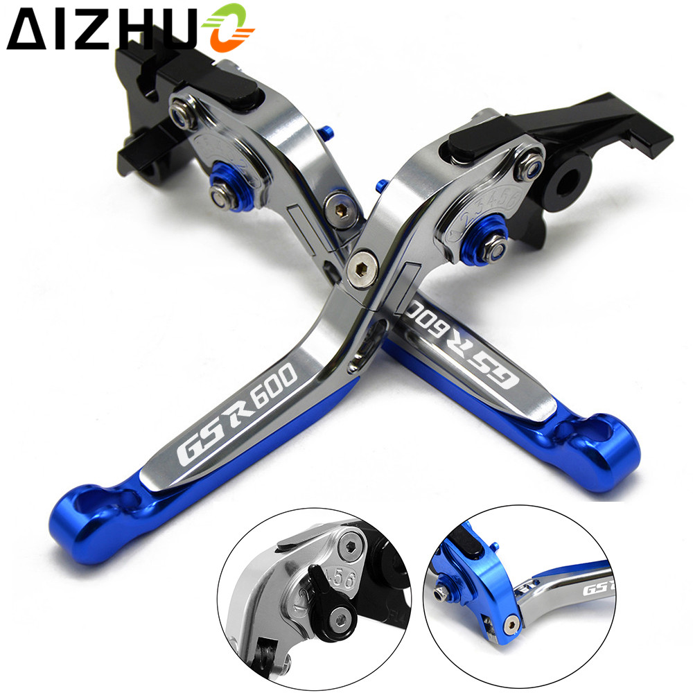 With GSR600 LOGO Motorcycle Clutch Brake Lever Aluminum Extendable Adjustable Foldable Lever For Suzuki GSR 600 GSR600 2006-2011 brand new 3d folding motorcycle adjustable brake clutch lever for suzuki gsr600 2006 2011 2008 2010 gsr750 2011 2012 2013