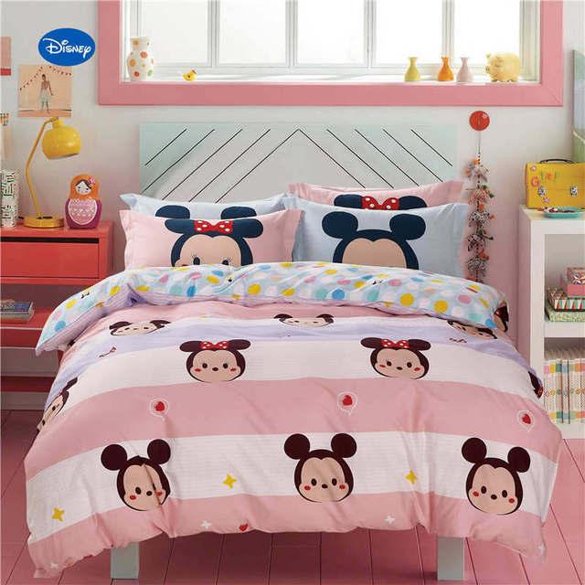 Slaapkamer Voor Baby.Minnie Mouse Stip Gedrukt Dekbed Beddengoed Set Meisje Baby