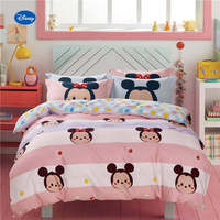 Minnie Mouse Polka Dot Printed Comforter Bedding Set Girl's Baby Bedroom 600TC Cotton Bed Cover Single Twin Full Queen Size Pink