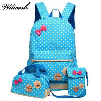 3Pcs/Sets 2018 Cartoon Printing School bag Canvas Backpack For Teenagers Girls Schoolbag Children Orthopedic Backpack CS060-1