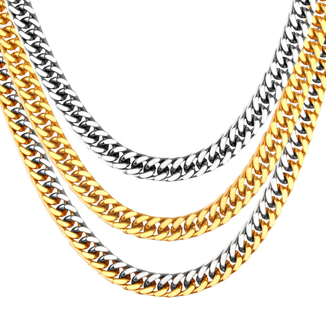 014a5702649ce US $5.5 20% OFF New Fashion Chain Necklaces Stainless Steel  Gold/Silver/Mixed Color 7mm Width Length 50/55/60cm Chunky Necklace For Men  Jewelry-in ...
