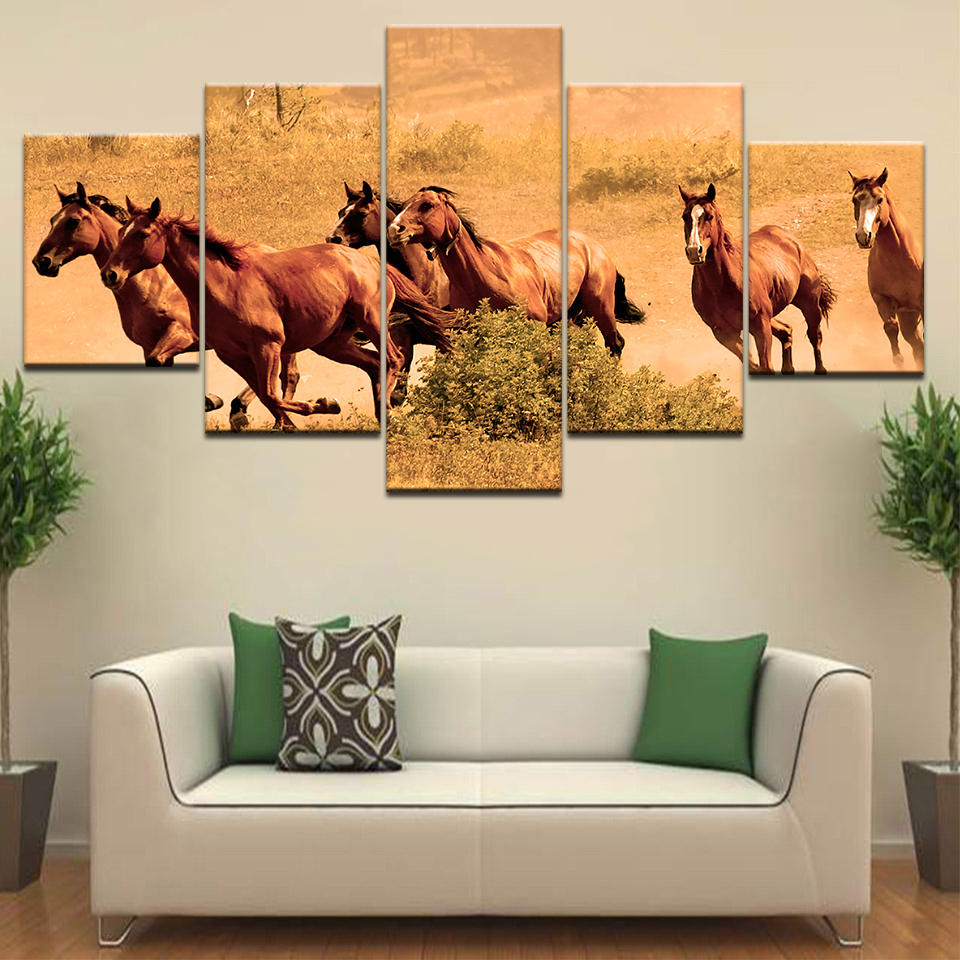 5 Panelpiece HD Print Old War Horses of Evangelism animal modern wall posters Canvas Art Painting  living room