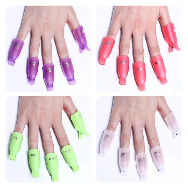 5Pcs Nail Polish Remover Nail Art Plastic Gel Soak Off Cap Clip UV Gel Polish Wrap Tool Fluid for Removal of Varnish Cleaner