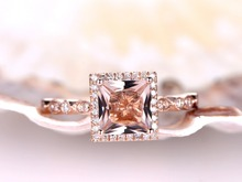 MYRAY Natural Pink Morganite Engagement Ring 6.5mm Princess Cut Gemstone Diamond 14k Rose Gold Wedding Rings Anniversary Gift