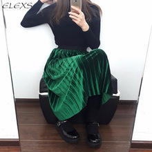 ELEXS Autumn Winter Fashion Skirt High Waist Velvet Pleated Skirt Women Solid Elastic Waist Spring Long Skirt Female E7953