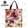 Vintage Elegant Watercolor Peony Flowers Print individual Nylon Oxford Reusable Shopping Bag Gift Foldable Bag Eco Bag Pack of 2
