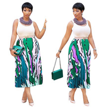 Polyester-cotton Blended Casual Digital Print A-line Midi Skirt. Three High-waisted Pleated Skirts. Summer Leisure