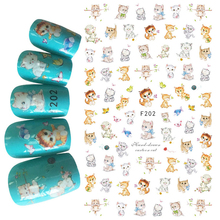 1pcs 3D Super Thin Nail Stickers Tips Nail Art Adhesive Decals Manicure Decoration Cute Cat Pussy Cats Nail Wraps F202