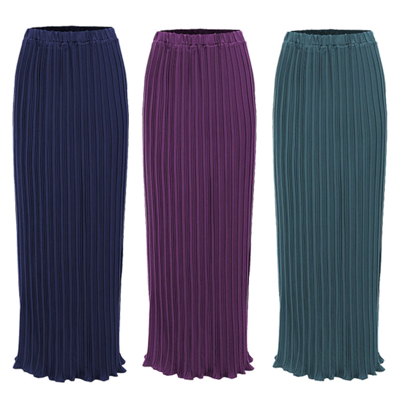 Faldas Largas Verano Mujer Moda 2019 Spring Autumn Korean Women Chiffon Pleated Long Maxi Skirt Jupe Longue Femme Muslim Skirts