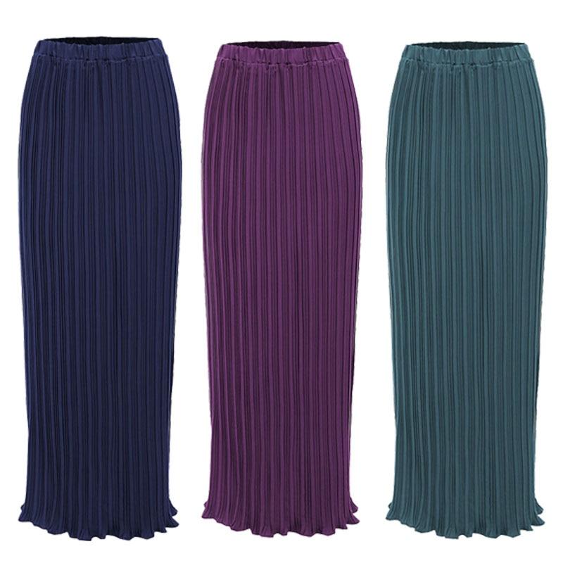 Faldas Largas Verano Mujer Moda 2020 Muslim Korean Women Chiffon Pleated Long Skirts Womens Maxi Skirt Jupe Longue Femme
