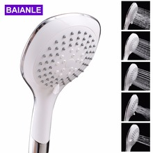 Five function Handheld Shower Head saving water ABS Plastic with chrome Round shower heads Bathroom Accessories zhangji five fuction silica gel holes shower head water saving with chrome showerhead bathroom sprinkler nozzle two colors