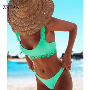Image 4 - Zrtak Ruffle Bikinis 2019 Mujer Sexy Lace Biquinis Feminino Solid Swimwear Women Swimsuit Push Up Brazilian Bikini Set Ladies