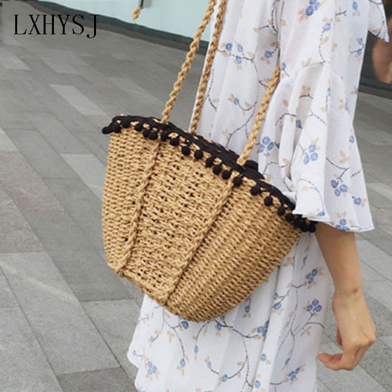 Fashion Lovely Beach Bag for Women Handmade Straw Bag Summer Grass Handbags Drawstring Basket Travel Bag Tote rerekaxi new bohemian beach bag for women cute handmade straw bags summer grass handbags drawstring basket bag travel tote