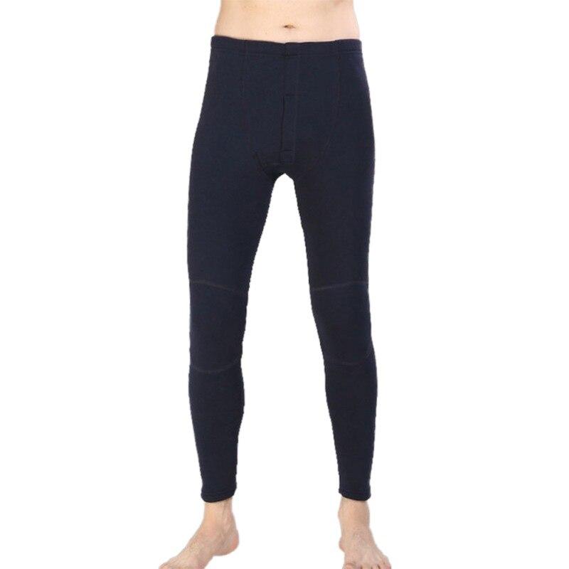 Winter Thermal Underwear Solid Plush Cotton Men Sleep Bottom Home Service Soft Plus Velvet Thicken Plus Size