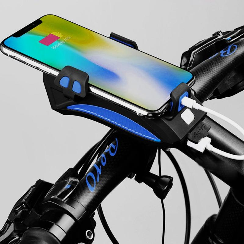 Bicycle Phone Holder Light Cycling Waterproof Bike Headlight Mobile Phone Bracket USB Rechargeable Bicycle Holder Front Lamp