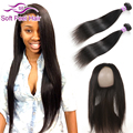 7A Mink Brazilian Straight Virgin Hair With Frontal Closure Full 360 Lace Frontal Band With Bundles Human Hair Weave And Closure