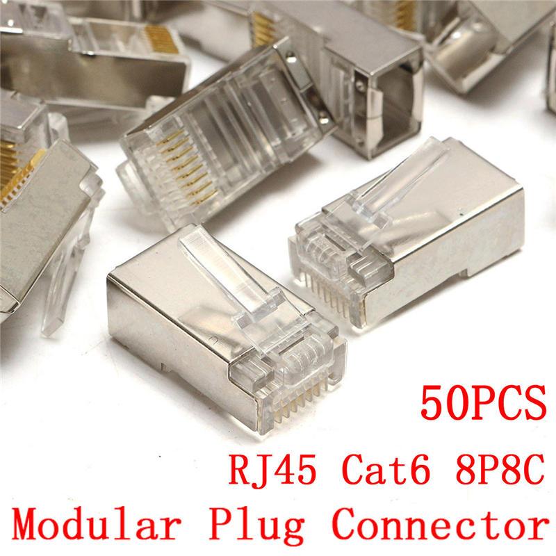 50Pcs RJ45 Cat6 8Pin 8P8C Shielded Stranded Crimp Modular Plug Connector Socket imc hot 10 pcs rj45 8p8c double ports female plug telephone connector