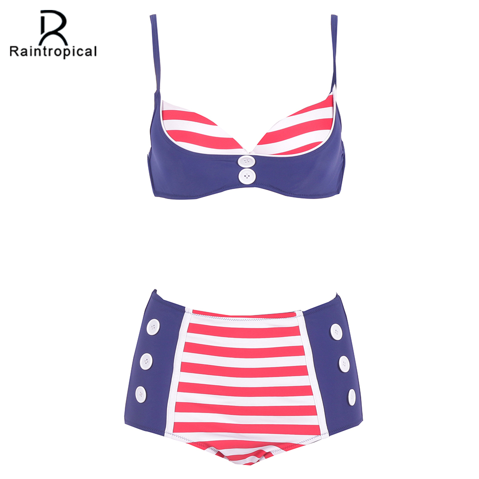 2017 New High Waist Swimsuit Push Up Bikini Plus Size Swimwear Women Retro Bikini Set Large Sizes Summer Beach Bathing suit 2016 new bikinis women swimsuit high waist bathing suit plus size swimwear push up bikini set vintage retro beach wear swim xl