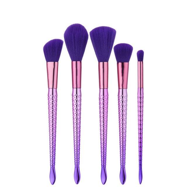 Makeup Brushes 5 pcs Brand Mermaid Soft Synthetic Professional Makeup Foundation Powder Blush Eyeliner Mermaid Brushes