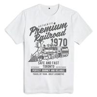 Bloodhoof Premium Railroad Locomotive printing white cotton hip hop men t shirts unisex tops tee