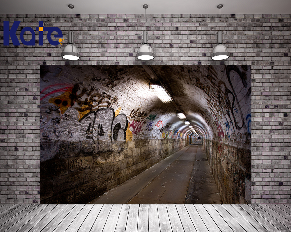 Kate Retro Tunnel Brick Wall Backgrounds For Photo Studio Lights Photographic Background Graffiti Wall Personalized Backdrop portable photo studio 4 photographic backgrounds 1 camera stand 2 halogen lights w carrying bag