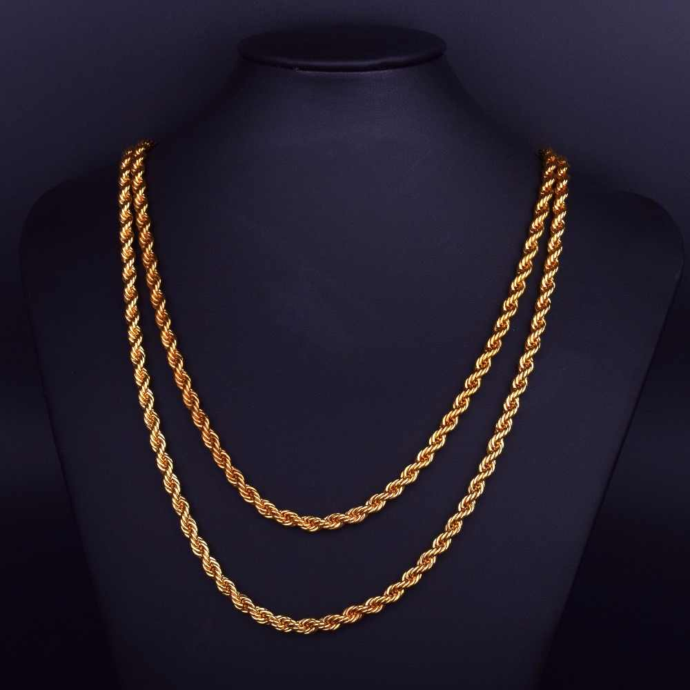 0481e977ccd77 3mm 6mm Gold Rope Chain Necklace Men's Hip hop Jewelry Iron Material 30inch  Long Necklace Link