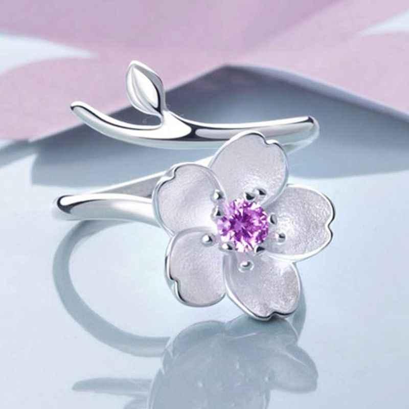 Женское кольцо, цветочное кольцо, размер бриллианта, регулируемые открытые кольца, свадебные украшения для девушек, подарок на день рождения, фиолетовый