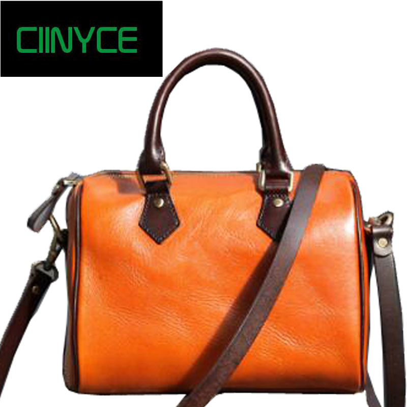 2018 Genuine Leather Vintage Women Boston Handbag Handmade Cow Skin Retro Top Handle Cross Body Shoulder Messenger Bag Totes 2018 vintage genuine leather women handbag handmade cow leather top handle bag mix pink green shoulder messenger bag