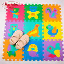 Meitoku EVA foam baby play Puzzle floor mat Animal Interlocking tiles pad Each 32cmX32cm 12 X12