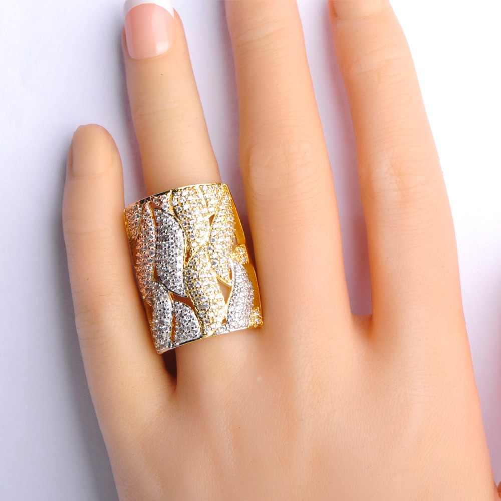 Dazz роскошный свадебный комплект ювелирных изделий «Дубай» AAA кубический цирконий; для помолвки подарок Pulsera Женский ширина браслет и кольцо наборы