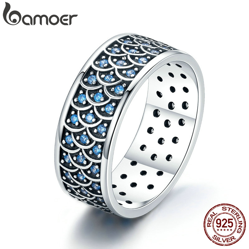 BAMOER 925 Sterling Silver Stackable Ring Charming Ocean Round Cocktail Finger Rings For Women Sterling Silver Jewelry SCR212
